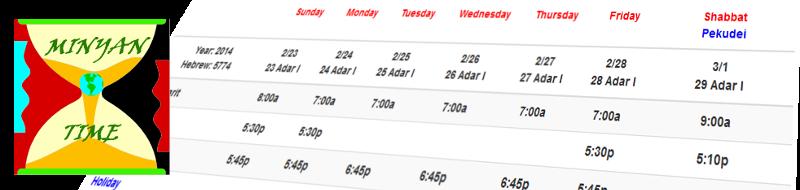 Minyan Time Scheduler